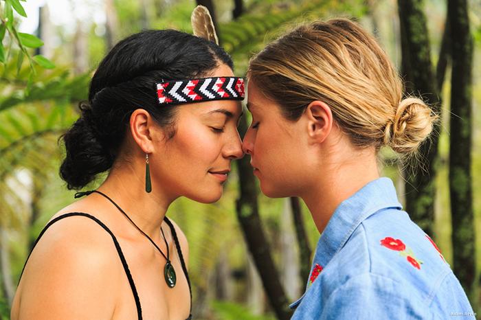 Maori-woman-greets-tourist-Rotorua